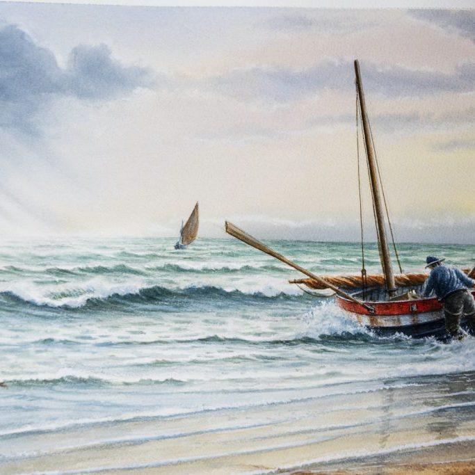 Launching a Crab boat, sheringham Norfolk c 1900 Mick Bensley