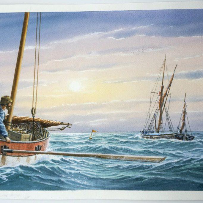 Crab boat & passing barge, Sheringham Norfolk Mick Bensley
